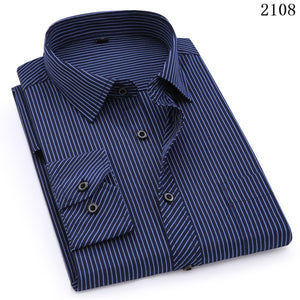 QISHA  A-Class Men's Dark Blue Turn-down Collar Long Sleeved Striped Shirt
