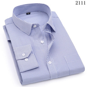 Open image in slideshow, QISHA  A-Class Men's Light Blue Turn-down Collar Long Sleeved Striped Shirt
