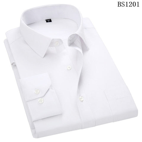 QISHA  A-Class Men's White Turn-down Collar Long Sleeved Striped Shirt