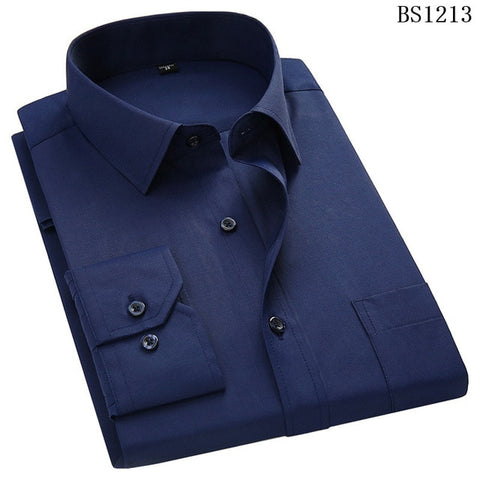 QISHA  A-Class Men's Navy Blue Turn-down Collar Long Sleeved Striped Shirt