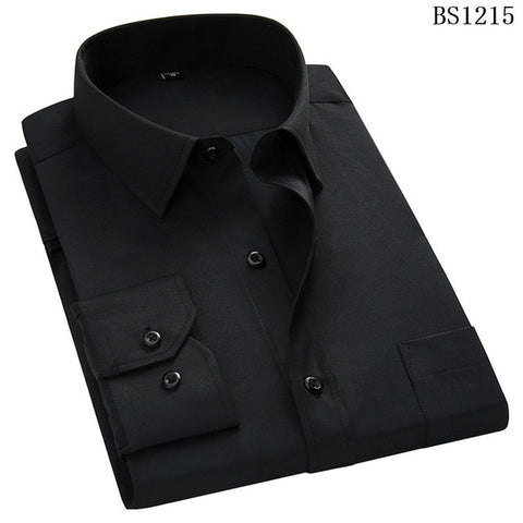 QISHA  A-Class Men's Black Turn-down Collar Long Sleeved Striped Shirt