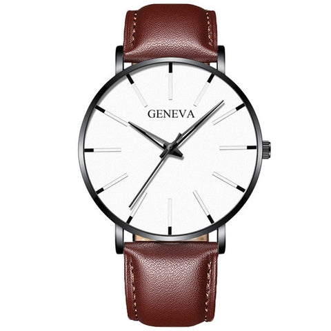 Sudysng Men's Brown & White Elegant Ultra Thin Watch