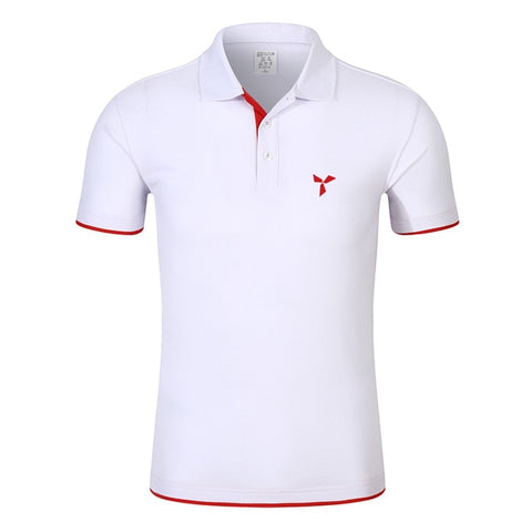 FINNEEDD RAIN611 Men's White Red Short Sleeve Polo Shirt With Breath-Fabric Technology