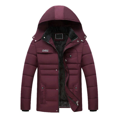 VOLGINS Men's Wine Red Hooded Winter Jacket