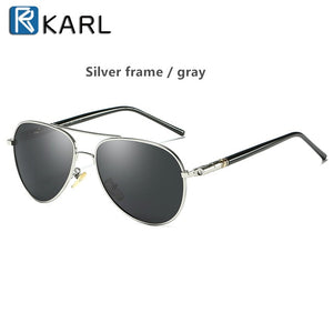 Karl T07 Men's Silver Classic Polarised Sunglasses With UV400 Protection