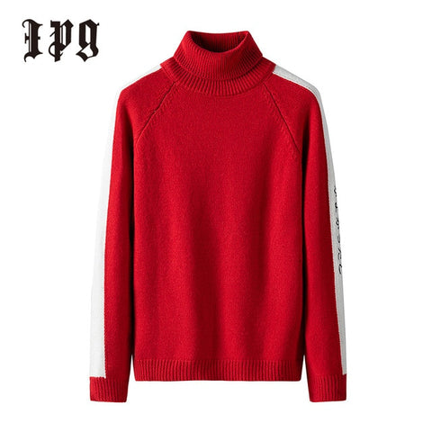 IPG Men's Red Casual Pullover Turtleneck Sweater
