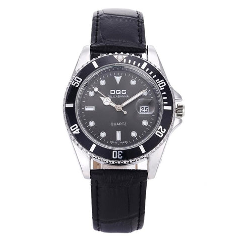 DQG Luxury Men's Black & Silver Waterproof Wrist Watch