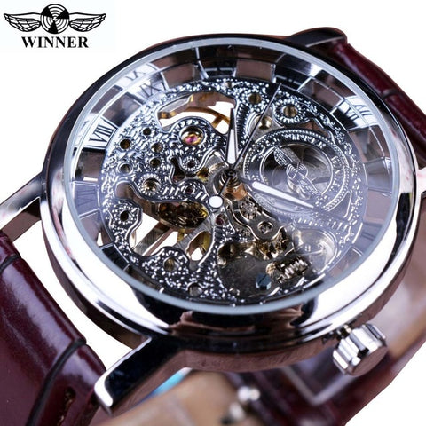 Winner Men's Brown & Silver Luxury Mechanical Watch