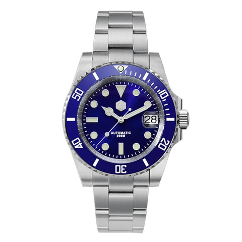 San Martin Men's Blue Bracelet Diver Crystal Automatic Watch