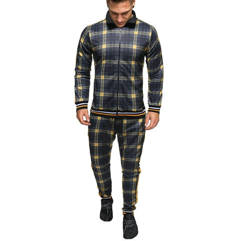 TJWLKJ Men's Khaki Checkered 2 Piece Plaid Sportswear Tracksuit