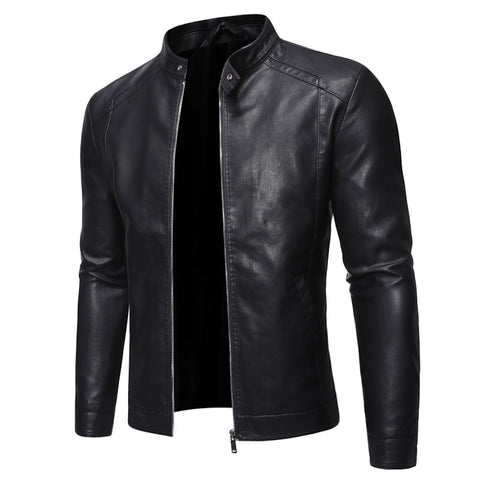 GRANDWISH Men's Black PU Motorcycle Style Leather Jacket
