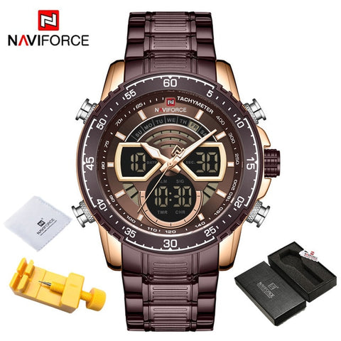 NAVIFORCE Men's Coffee & Gold Bright Backlight Watch