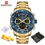 NAVIFORCE Men's Gold & Blue Bright Backlight Watch
