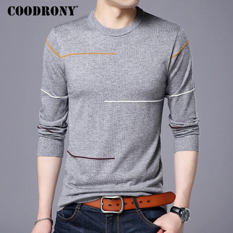 COODRONY Men's Gray Cashmere Warm Wool Pullover Sweater