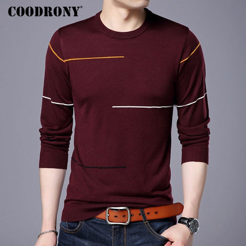 COODRONY Men's Red Cashmere Warm Wool Pullover Sweater