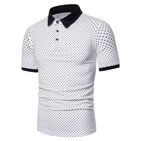 ZHELIN Men's Dotted White Contrast Polo Shirt