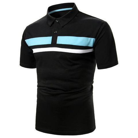 ZHELIN Men's Light Blue Contrast Polo Shirt
