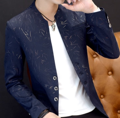 HOO Men's Blue Casual Collared Blazers