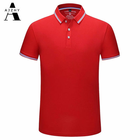 AJZHY Men's Red Casual Cotton Polo Shirt