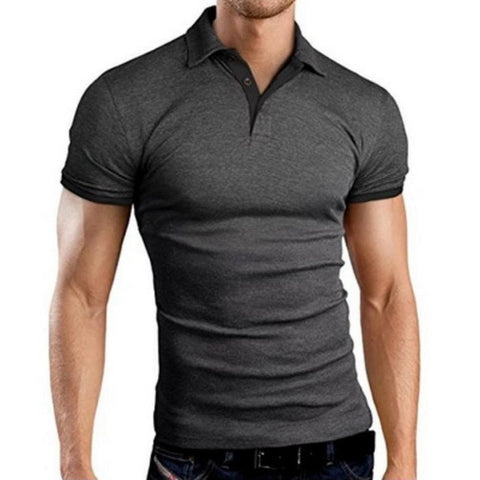 NIBESSER Men's Gray Breathable Short Sleeve Turn-over Collar Polo Shirt