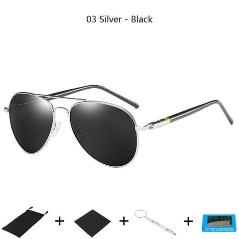 GIAUSA Men's Silver Black Classic Polarized Sunglasses