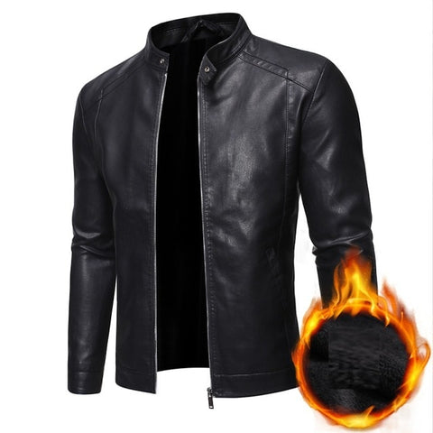 GRANDWISH Men's Black Thicken Motorcycle Style Leather Jacket