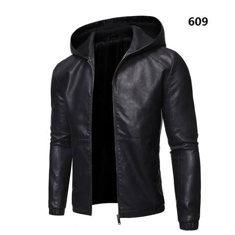 GRANDWISH Men's Black Motorcycle Style Leather Jacket