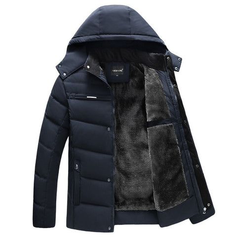 VOLGINS Men Dark Blue Thicken Hooded Waterproof Outwear Jacket