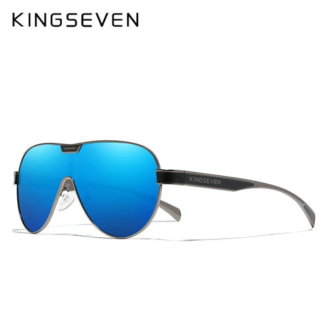 KINGSEVEN Men's Gun Blue Oversized Polarized Sunglasses