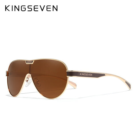 KINGSEVEN Men's Gold Brown Oversized Polarized Sunglasses