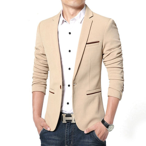 ZHAN O-Neck Men's Luxury Khaki Blazer Jacket