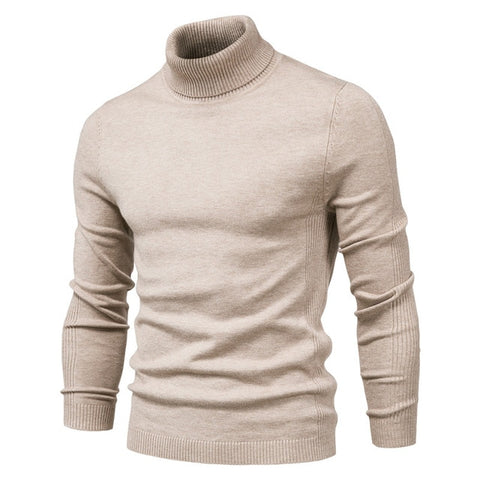 NEGIZBER Men's Khaki Winter Turtleneck