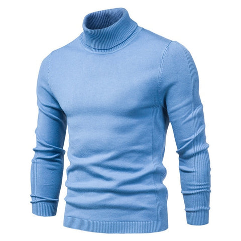 NEGIZBER Men's Lblue Winter Turtleneck