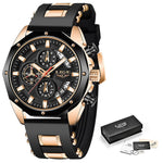 LIGE Men's Rose Gold Black Silicone Strap Sports Watch