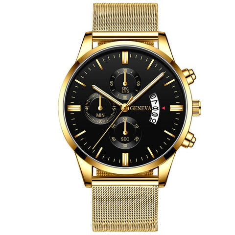 ECONOMICXI Men's Gold Stainless Steel Mesh Belt Watch