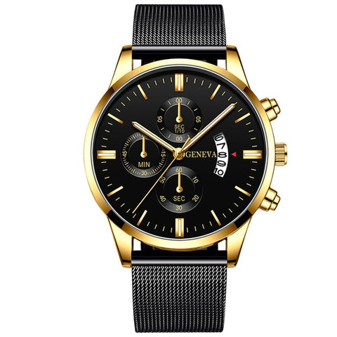 ECONOMICXI Men's Gold & Black Stainless Steel Mesh Belt Watch