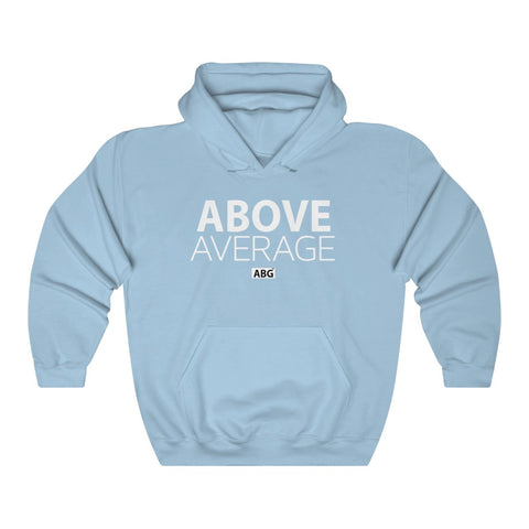 Above Average White Font Unisex Heavy Blend Hooded Sweatshirt