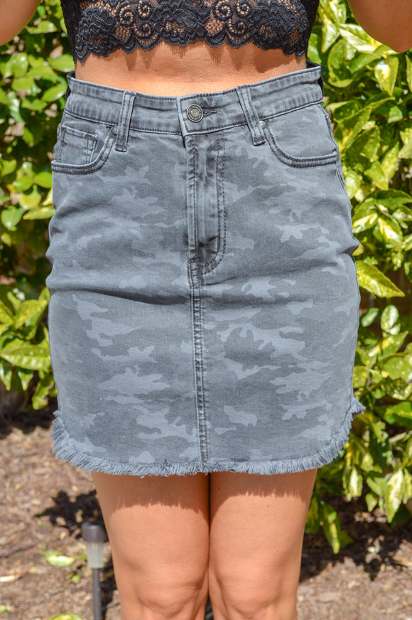 You Can't Miss Me Denim Skirt