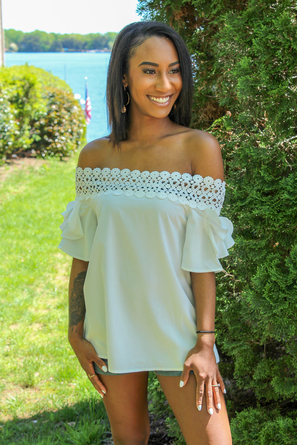 Ready To Ruffle Off Shoulder Top