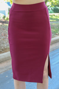 You Can't Sit With Us Pencil Skirt (Burgundy)