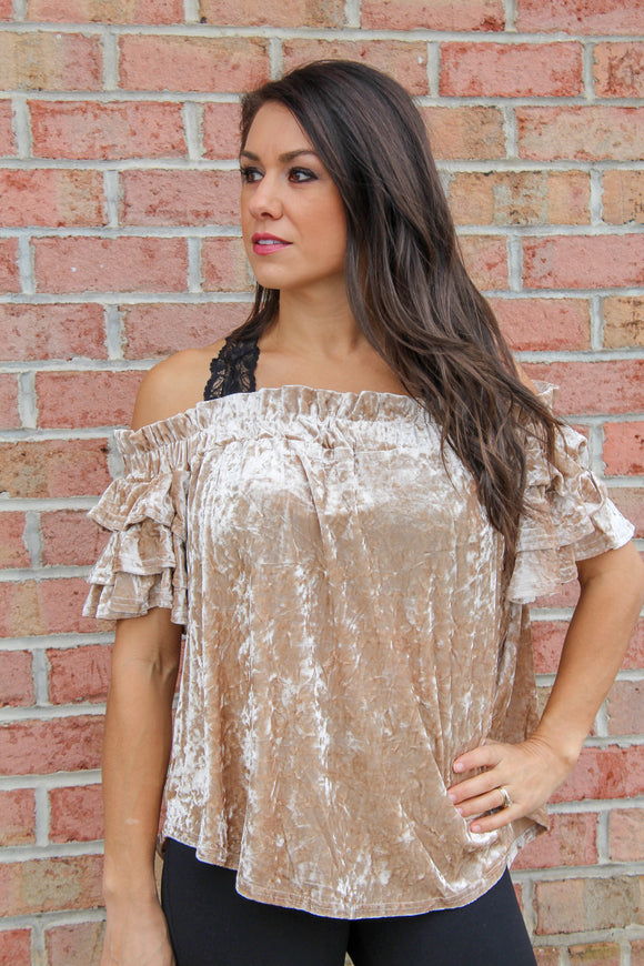 Holly Jolly Off Shoulder Top (Champagne)
