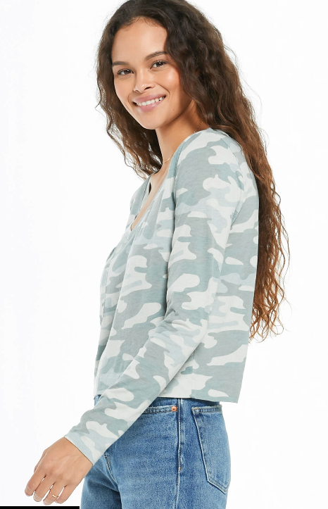 Z Supply Skimmer Camo long Sleeve Pocket Tee