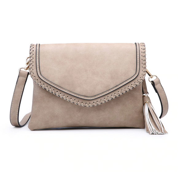 Jen & Co Whipstitch Trim Envelope Crossbody