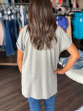 Cold Shoulder V-neck (Heather Grey)
