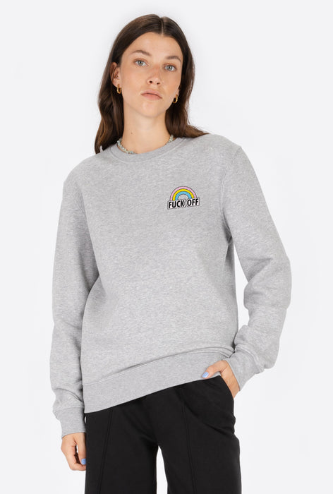 Crewneck Heather Grey Fuck Off - Embroidered