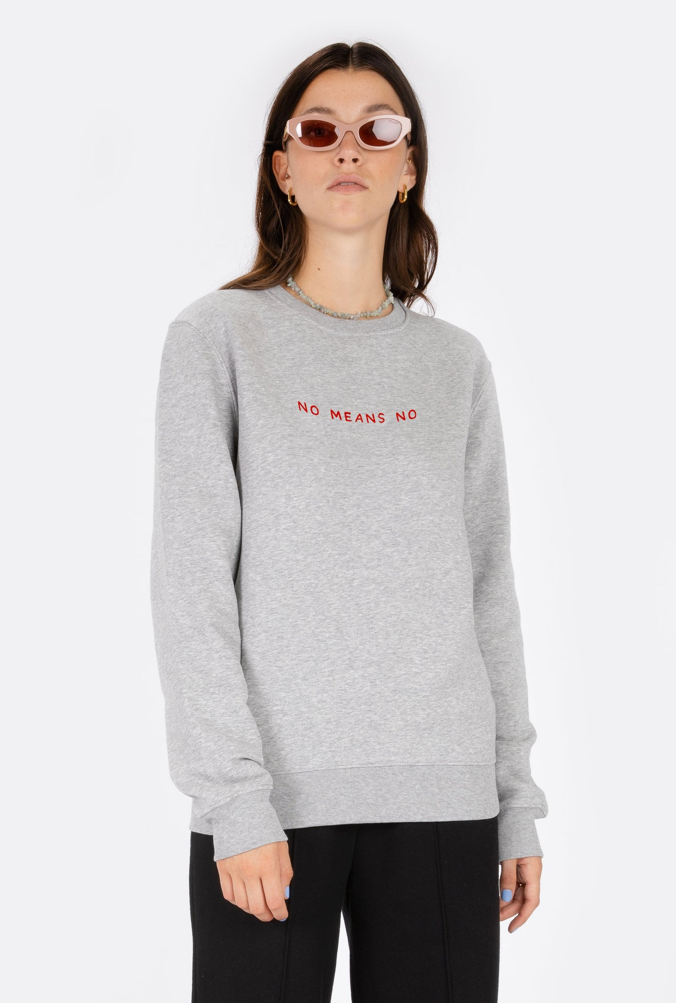 Crewneck No Means No - Embroidered