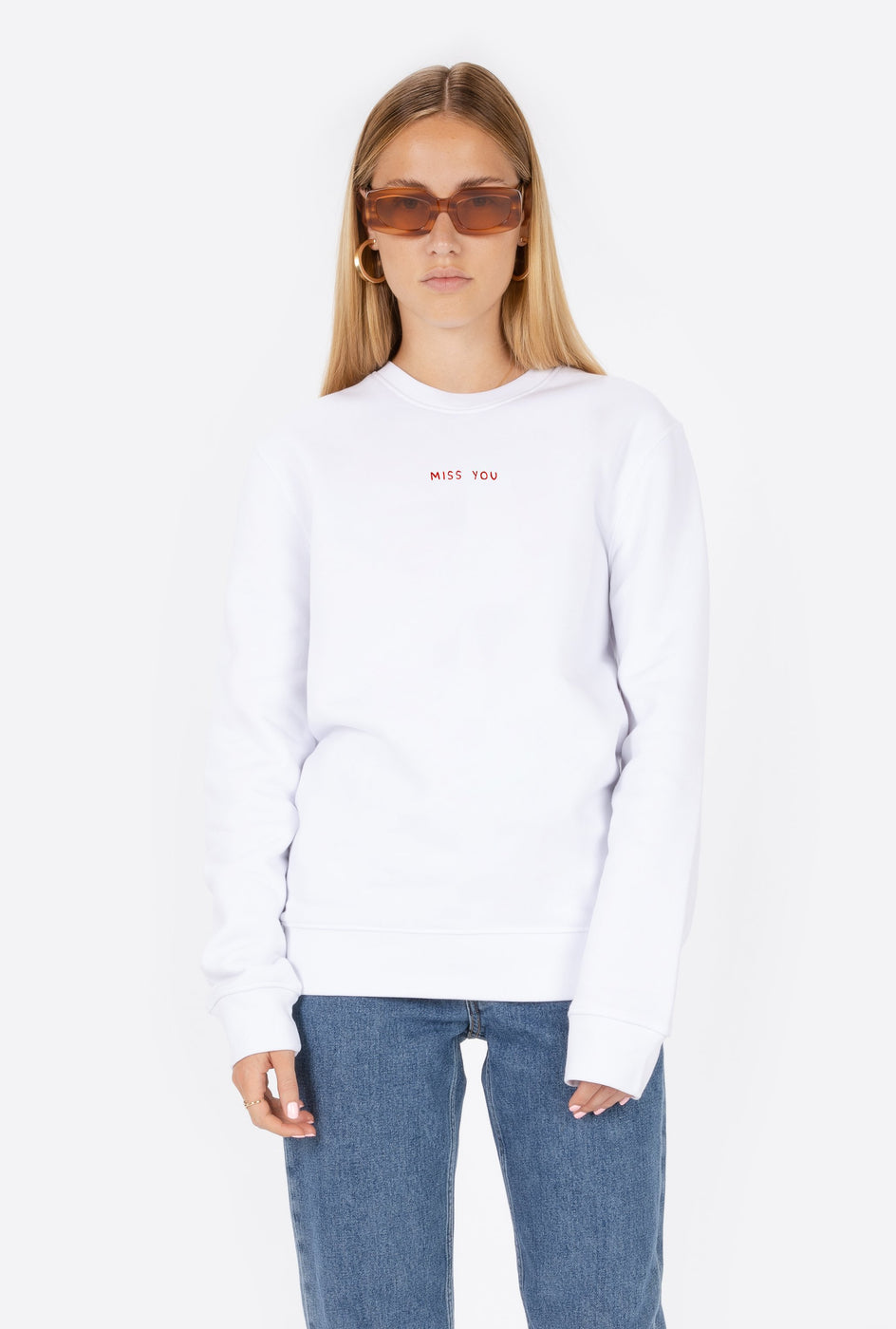 Crewneck White Miss You - Embroidered