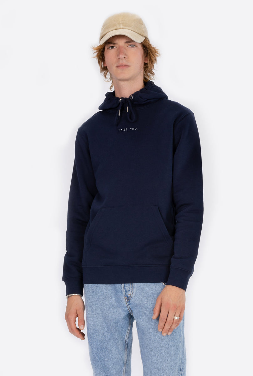 Hoodie Navy Miss You - Embroidered