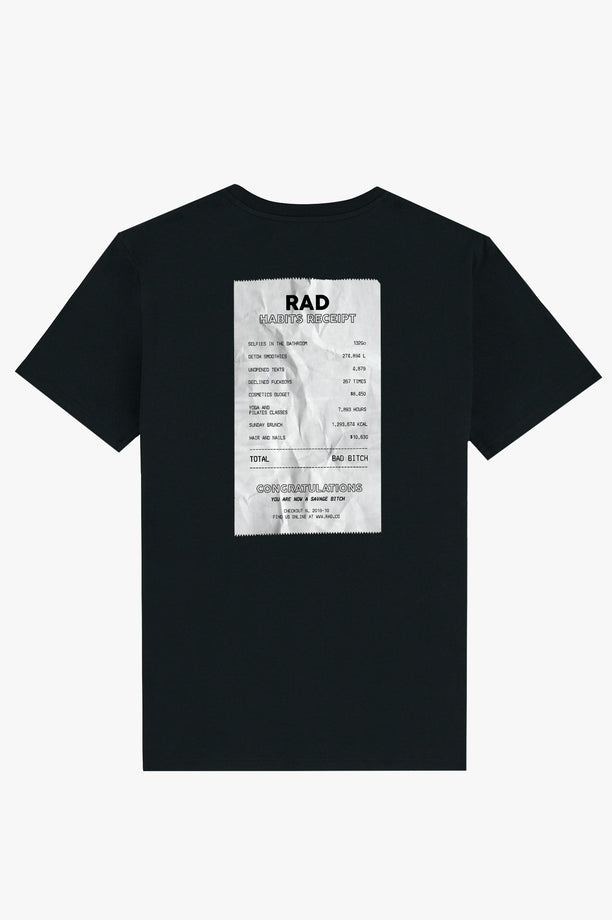 T-Shirt S/S Black Life Receipt