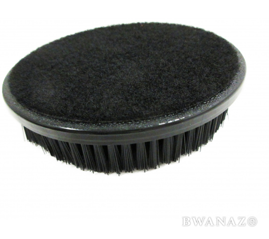 "Round Brush 5'' with Hook & Loop Backing 1"" Soft Bristles Black 